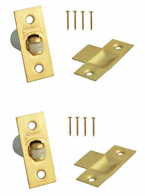 Adjustable Door Roller Ball Catch X 2 Latches Brass Plated For Cupboards Gates • 4.88£