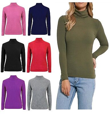 £6.87 • Buy Ladies Turtle Neck Women Casual High Polo Neck Long Sleeve Ribbed Jumper Top