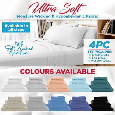 AU42.95 • Buy 1000TC Ultra Soft 4 Pc Flat & Fitted Bed Sheet Set Pillowcases Single/Queen/King