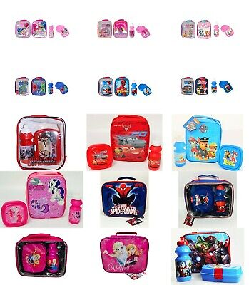 NEW Kids Boys Girls 3pc Lunch Box Set With Sport Water Bottle & Bag. • 8.99£