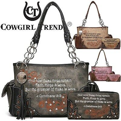 b7af42f3e5 Bible Verse Western Style Purses Country Handbags Women Shoulder Bag Wallet  Set • 59.95