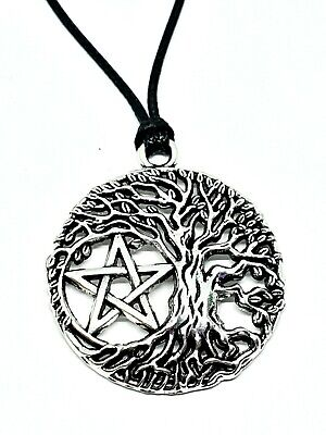 Pentacle Pentagram Tree Of Life Pendant Pagan Wiccan Corded Necklace • 3.70£