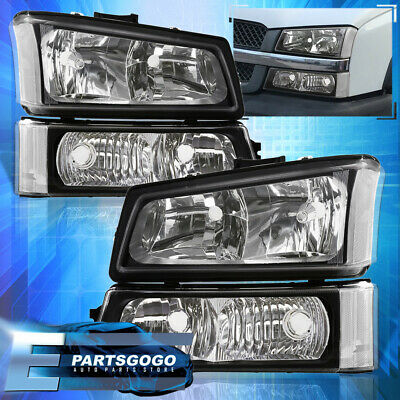 $73.99 • Buy For 03-06 Chevy Silverado Black Replacement Head Lights + Signal Bumper Lamps