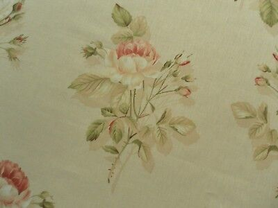£21 • Buy Sanderson Curtain Fabric ENGLISH ROSE 1.3m Red/Sand Classic Floral 130cm