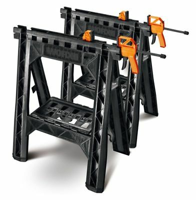£60.59 • Buy Worx 2-Pack Saw Horse Clamping Portable Folding Sawhorse Pair Heavy-Duty