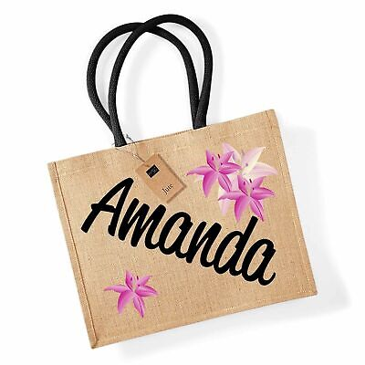 £10.99 • Buy Personalised LILY FLOWERS Classic Jute Shopping Bag Gift Grocery Mum Carrier