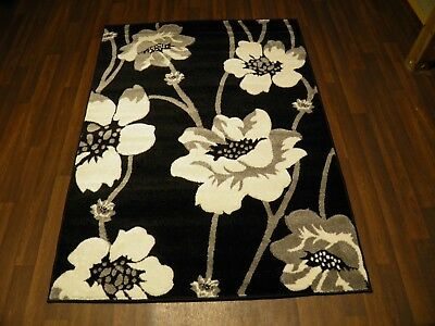 Top Quality New 120x170cm Aprox 6x4ft Rugs/mat Hand Carved Poppy Black/silver • 49.99£