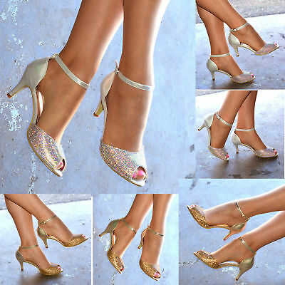 £18.95 • Buy Ladies Diamante Mid Heel Evening Shoes Ankle Strap Party Peep Toe Sandals Size
