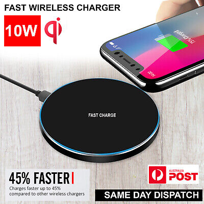 AU9.99 • Buy Wireless Charger Qi Fast Charging Receiver IPhone 11 X 8 XS XR Samsung S8 S9 S10