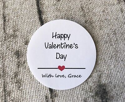 AU12.95 • Buy 48x 4cm White Round Happy Valentine's Day Gift Labels Personalized Gift Stickers