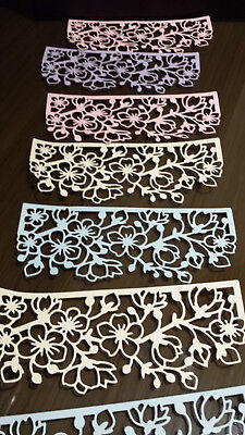 Die Cut Cherry Flower 8 Pastel Card Toppers For Special Occasion / 15 X 6 Cm • 2.55£