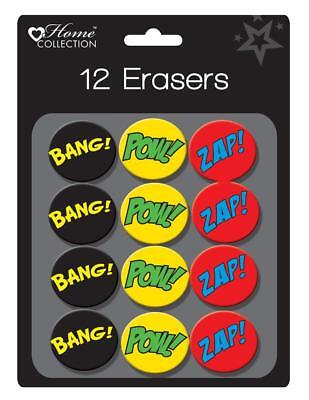 12 Pack Colourful Superhero Erasers Rubbers Cartoon Eraser School Party Bag Gift • 1.99£
