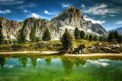 £16.98 • Buy Stunning Mountain Lake Trees Canvas Picture Poster Print Wall Art Unframed #2094