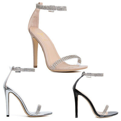 Womens Ladies Perspex Diamond Front Ankle Strap High Heel Stiletto Shoes Size • 19.99£