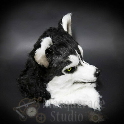 £47.16 • Buy Over The Head Black And White Wolf Costume Moving Mouth Masquerade Mask