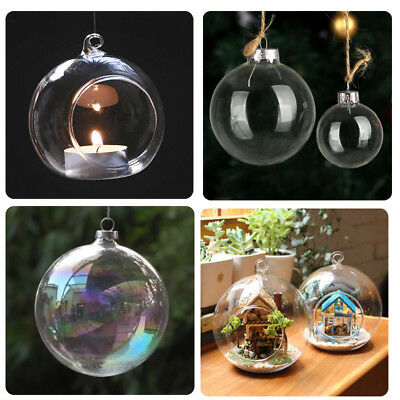 Clear Hanging Glass Bauble Fillable Sphere Ball Candle Tea Light Holder Garden • 11.95£