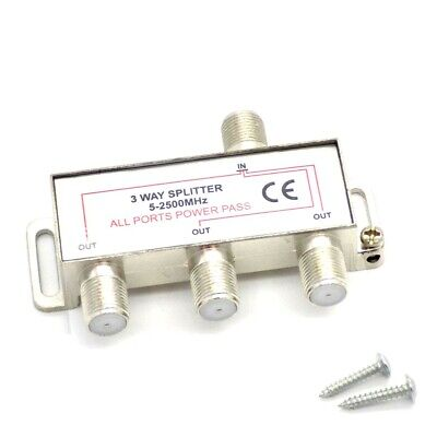 3 Way Coaxial Splitter 1 Male IN Coax To 3 Female OUT TV Aerial Virgin Sky Boxes • 2.95£