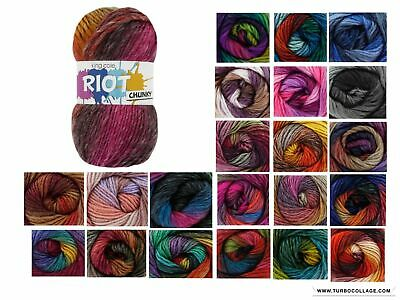 King Cole Riot Chunky Multi Coloured Knitting Yarn - 100g Acrylic Wool Blend • 3.35£