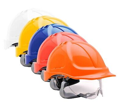 PORTWEST Endurance Visor Helmet Safety Hard Hat Cap Ratchet Chin Strap PW55 • 10.99£