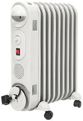 Prem-I-Air 2kW 9 Fin Portable Oil Filled Radiator Heater With Thermostat - White • 39.95£