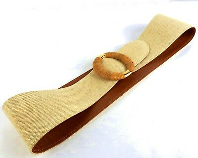 e8b9333415d 100% Authentic GUCCI Beige Canvas Leather Waist Belt Rattan Buckle Made In  Italy • 129.00