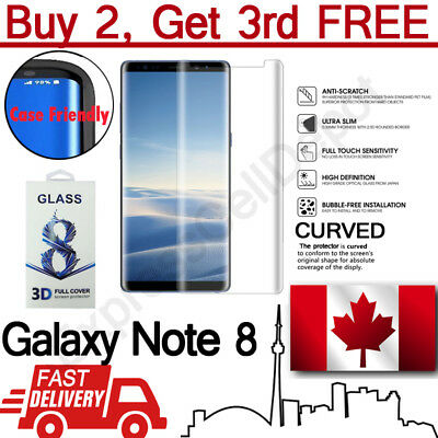$ CDN6.99 • Buy Case Friendly Samsung Galaxy Note 8 Clear Curved Tempered Glass Screen Protector