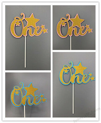 AU4.95 • Buy 1st First Birthday Party Cake Topper One Gold Star Baby Boy/girl Blue/ Pink