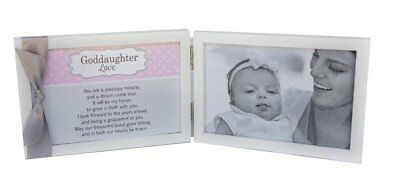 Goddaughter Love, Grow In Faith Poem White Double Hinged Photo Frame With Ribbon • 15£