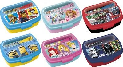 Character Sandwich Box With Cutlery Set Paw Patrol Avengers Star Wars Minions • 4.89£