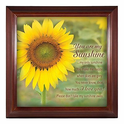 You Are My Sunshine Yellow Sunflower 12 X 12 Woodgrain Framed Wall Art Plaque • 23.82£