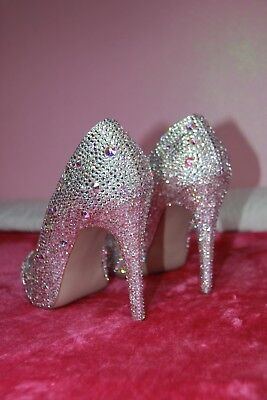 Genuine Swarovski Crystals Personalized Heel Shoes, Size 5 • 400£