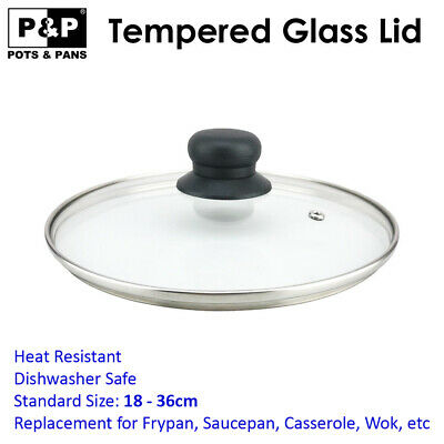AU21.95 • Buy Tempered Glass Lid For Fry Pan, Saucepan, Casserole, Pot Wok Replacement 18-36cm