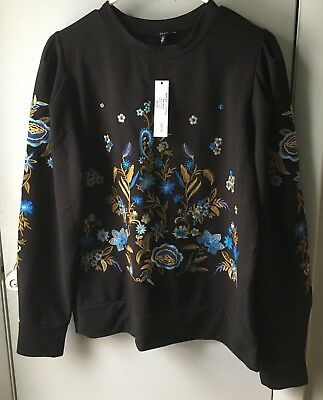 $ CDN75.31 • Buy  DREW Anthropologie Women Black  Floral Embroidered Top Small New