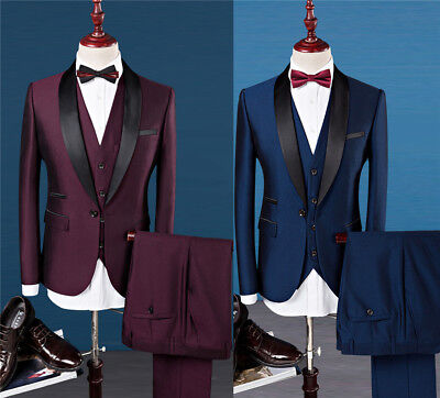 $ CDN129.13 • Buy 2 Colors Luxury Wedding Dress Formal Prom Suits Men Tuxedo Slim Fit 3Pcs Suit