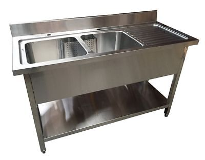 1400mm X 600mm COMMERCIAL STAINLESS STEEL RHD DOUBLE BOWL SINK WITH UNDER SHELF • 409£