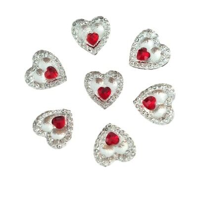 £3.75 • Buy 40 Clear Heart Resin Crystals With Mini Red Heart Centre Flat Back Embellishment