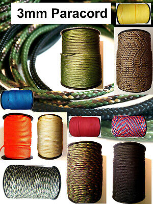 PARACORD Flat Rope String Line 3mm 3 Poly Synthetic Sailing Tie Lanyard Cord UK • 1.41£