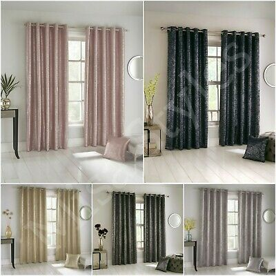 Halo Thermal Sparkle Metallic Bling Shimmer Blockout Eyelet Ring Top Curtains • 19.99£