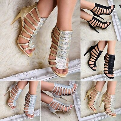 Ladies Heeled Gladiator Diamante Sandals Stiletto Strappy Open Toe Shoes Size  • 12.99£