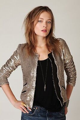$ CDN330.81 • Buy IRO Yulli Sequin + Leather Moto Gold Jacket - 1 Or Small FR 36 / 4
