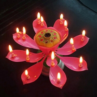 $ CDN2.45 • Buy 1pcs Lotus Candle Birthday Flower Musical Rotating Floral Cake Candles Music