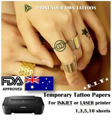 £8.72 • Buy A4 DIY, TEMPORARY TATTOO PAPERS -  / AUSPOST / Print Your Own Tattoos / Kids Fun