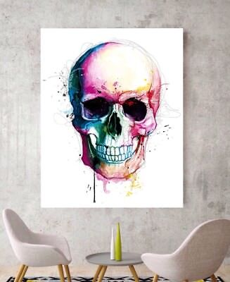 Skull Art Canvas Skull Colourful Graffiti Abstract Canvas Damien Hirst Type Art • 59.99£