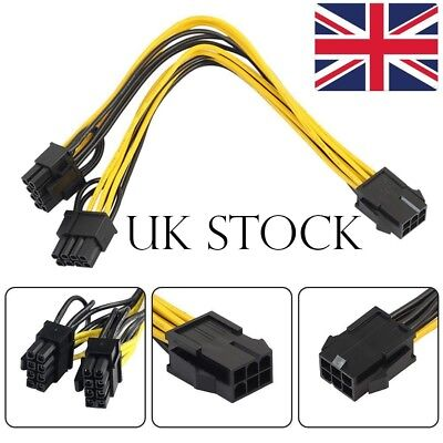 6 Pin Female To Dual 8 Pin (6+2) Male PCIe Graphics Power Cable 20cm Free P&P • 5.49£