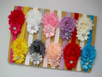 $3.79 • Buy 10Pcs Cute Kids Girl Baby Chiffon Toddler Flower Bow Headband Hair Band Headwear