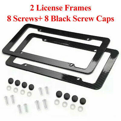 2pc Set Plastic Carbon Fiber License Plate Frame Holder Cover Front & Rear JDM • 7.99$