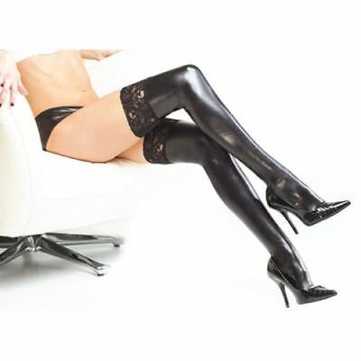 Lady Women PVC Stockings Hold Up Wet Look Faux Leather Stockings Black Socks Fit • 7.99£