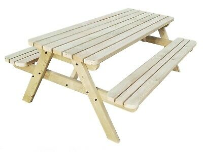 Picnic Table And Bench Wooden Outdoor Garden Pub Style Furniture, Fortem Rounded • 169£