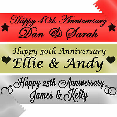 Personalised Anniversary Banners Golden Silver Ruby 50th 25th 40th Wedding Happy • 4.95£