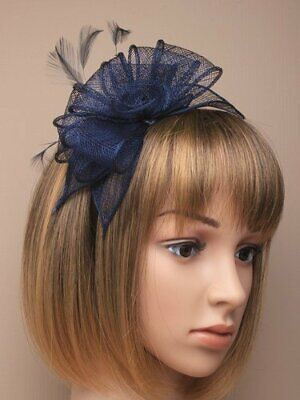 Navy Blue Fascinator Alice Hair Band With Stiffened Net Loops And Feather Ten... • 11.99£